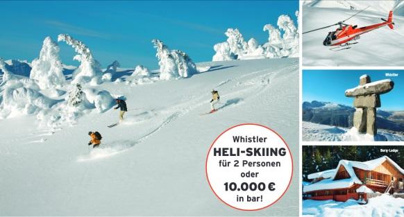 Eddie Bauer Gewinnspiel Heli-Skiing oder 10.000€ in bar